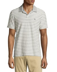 Penguin Striped Cotton Polo Shirt Rain Heather