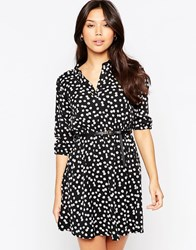 Yumi Belted Dress With 3 4 Sleeve In Daisy Floral Print Black