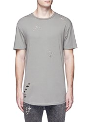 Topman Distressed Cotton Jersey T Shirt Grey