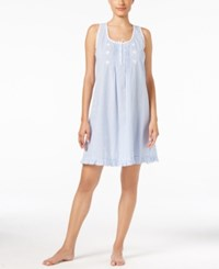 Miss Elaine Gingham Pleated Short Nightgown Peri Off White Gingham