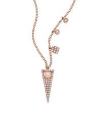 Meira T Rose Quartz Mother Of Pearl Diamond And 14K Rose Gold Triangle Pendant Necklace