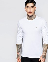 Farah Long Sleeve T Shirt With F Logo In Slim Fit In White Exclusive White