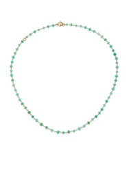 Mija Chrysoprase Beaded Chain Necklace Gold Green
