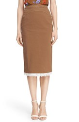 N21 Women's N 21 'Lison' Frayed Hem Khaki Pencil Skirt