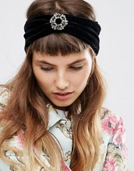 Asos Velvet Brooch Turban Headband Black