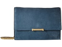 Ivanka Trump Mara Cocktail Bag Blue Mirage Summer Suede Leather Bags