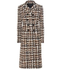 Dolce And Gabbana Wool Cotton Blend Boucle Coat Multicoloured