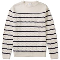 Edifice Striped Cable Crew White