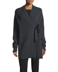Helmut Lang Ribbed Tie Front Cardigan Charcoal