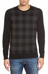 Men's Ben Sherman Check Crewneck Sweater Jet Black