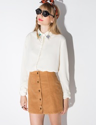 Pixie Market Brown Corduroy Button Mini Skirt