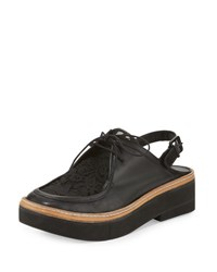 Robert Clergerie Sardust Lace Slingback Oxford Black