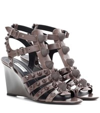Balenciaga Arena Leather Wedge Sandals Brown