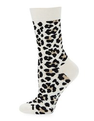Happy Socks Leopard Crew White Leopard
