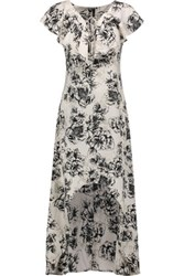 W118 By Walter Baker Shanice Floral Print Crepe De Chine Midi Dress Ivory