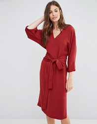Sisley V Neck Obi Midi Dress 1G2 Red