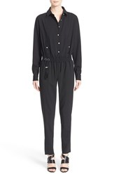 Women's Anthony Vaccarello Long Sleeve Stretch Wool Jumpsuit