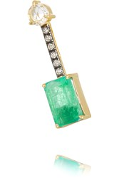 Jemma Wynne 18 Karat Gold Emerald And Diamond Earring