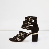 River Island Womens Black Multi Buckle Strap Heeled Sandals