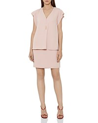 Reiss Tarquin Tiered Chain Detail Dress Ice Pink