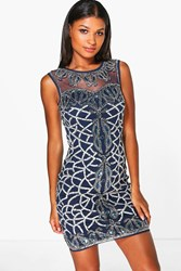 Boohoo Rosie Embellished Bodycon Dress Navy