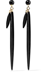 Isabel Marant Gold Plated Wood Earrings Black