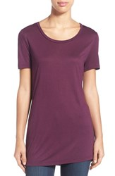 Women's Halogen Side Slit Long Scoop Neck Tee Purple Italian
