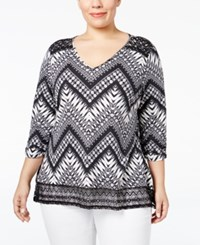 Ny Collection Plus Size Lace Trim Chevron Print Top Black Passage