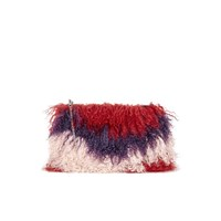 House Of Holland Women's Fur Clutch With Chain Maroon Pink Purple