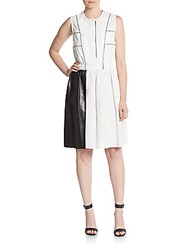 Proenza Schouler Perforated Leather A Line Dress White