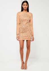 Missguided Gold Embellished Long Sleeve Dress