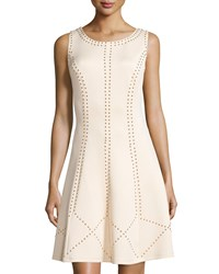Jax Studded Sleeveless Fit And Flare Dress Shell White