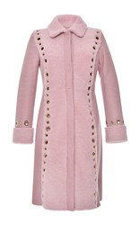 Blumarine Lamb Shearling And Leather Coat Pink