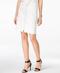 Inc International Concepts Zip Front Faux Leather Skirt Only At Macy's Washed White