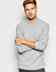 Asos Cable Knit Jumper With Chunky Neck Greytwist