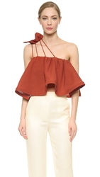 Vika Gazinskaya Shoulder Strap Flouncy Top Brick Red