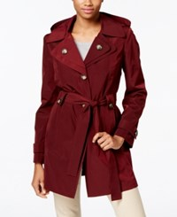 London Fog Hooded Water Resistant Trench Coat Burgundy