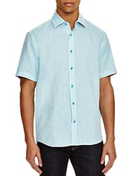 Report Collection Short Sleeve Stripe Linen Regular Fit Shirt Compare At 88 Aqua
