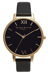Olivia Burton Women's 'Big Dial' Leather Strap Watch 38Mm Black Black Gold