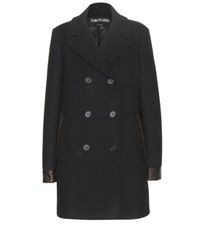Tom Ford Leather Trimmed Wool Pea Coat Black