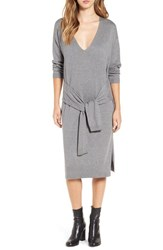 Leith Women's Tie Waist Sweater Dress Grey Cloudy Heather