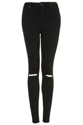 Topshop Petite Moto Black Ripped Jamie Jeans Washed Black