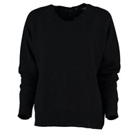 Lowie Cashmere Blend Button Back Reversible Sweater In Black