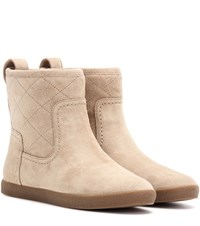 Tory Burch Alana Suede Ankle Boots Beige