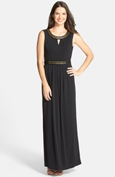 Embellished Keyhole Column Gown Black