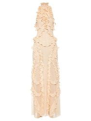 Alexander Mcqueen High Neck Ruffle Silk Knit Gown Light Pink
