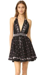 Loveshackfancy String Halter Mini Dress Black