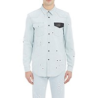 Givenchy Men's Distressed Denim Work Shirt Light Blue