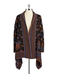 Nanette Lepore Patterned Asymmetrical Cardigan Black Copper