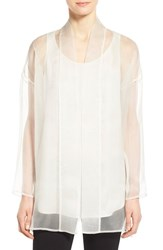 Eileen Fisher Women's Long Silk Organza Kimono Jacket Bone